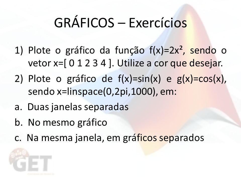 GRÁFICOS – Exercícios Plote o gráfico da função f(x)=2x², sendo o vetor x=[ 0 1 2 3 4 ]. Utilize a cor que desejar.